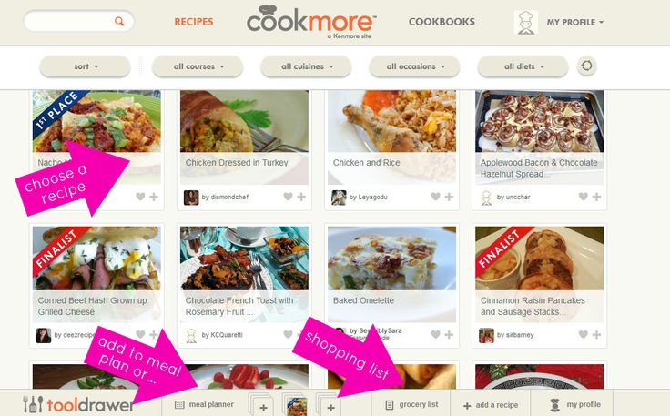 Cookmore meal planning website