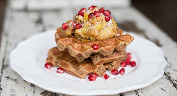 Vegan Buckwheat Waffles with Cinnamon Spiced Apple