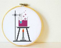 Cross stitch Pattern PDF. Instant download. Chemistry Lab. Includes easy beginners instructions.