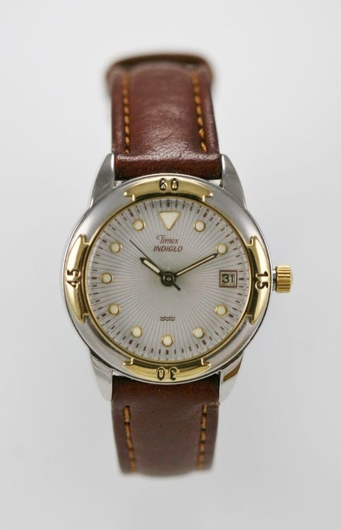 Timex Watch Womens Stainless Silver Gold Steel Brown Leather Light Date Quartz