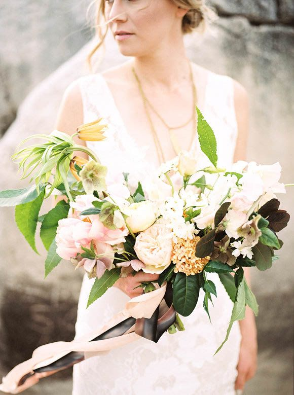 Romantic bridal bouquet - love the ribbons   Feather & Twine Photography