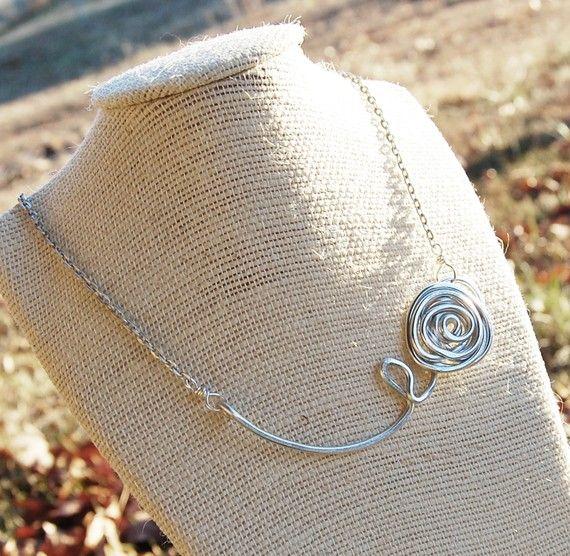 Rose necklace Silver Aluminum Wire jewelry by Karismabykarajewelry