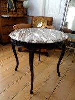 Round salon table Louis XV style with marble top c.1920