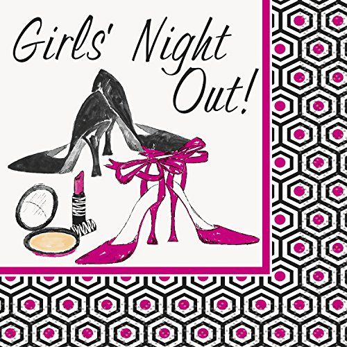Girls Night Out Cocktail Napkins, 16ct:   Turn hors d'oeuvres and cocktails into festive party fare when you serve them with these Girls Night Out Beverage Napkins. Featuring makeup, heels, and a cute geometrical patterned border, these cocktail napkins are a stylish piece of tableware for a bachelorette party or wine tasting party. Girls Night Out Cocktail Napkins are not only great for serving drinks and appetizers, they come in handy for cleaning up accidental messes.