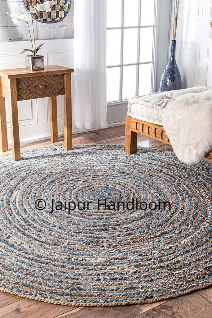 Braided Denim Jute Round Rag Rugs 2 Feet Round Living Room Area