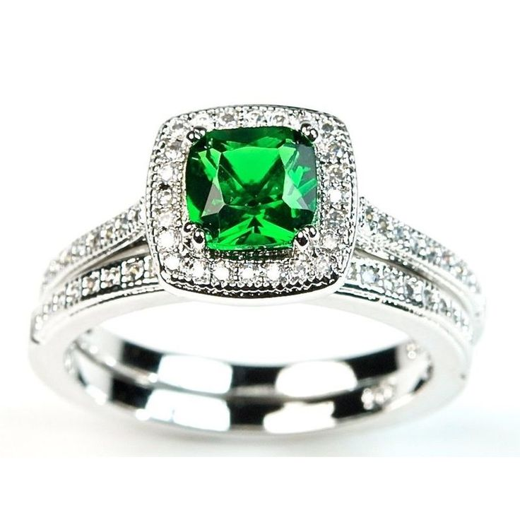 Trendy Emerald Cushion Wedding Ring Set Green CZ Sterling Silver Halo Engagement Ring