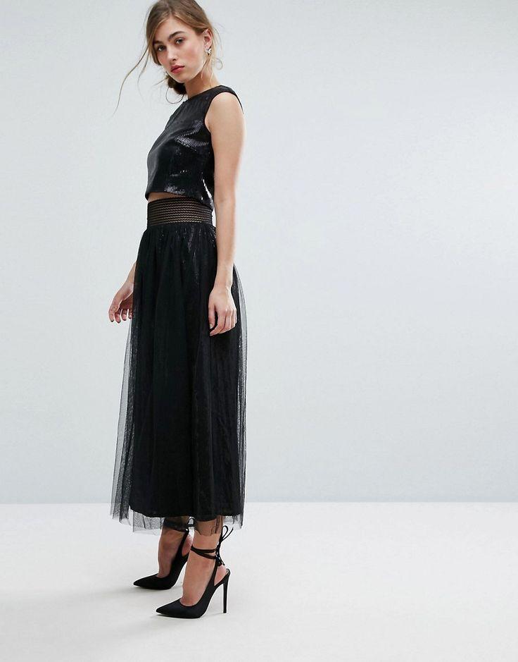 Little Mistress Allover Sequin Midi Skirt With Mesh Tulle Overlay - Bl