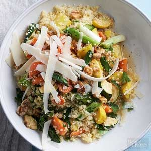Quick-cooking couscous is finished in 5 minutes. Try adding whatever veggies you have on hand for this clean-out-the-crisper dish.