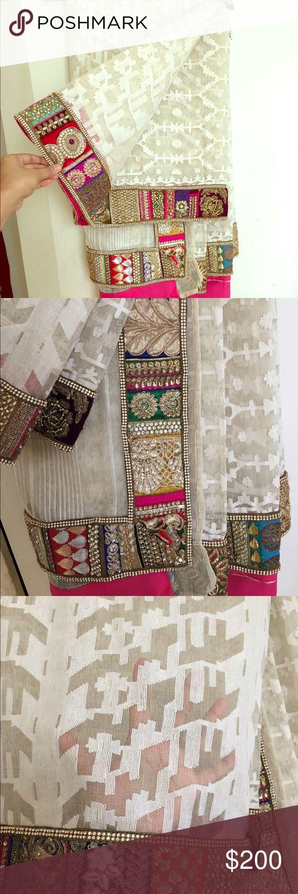 Jamdani saree Dhakai jamdani sari with heavy thread embroidery sequin stone patch work border.new Handmade Dresses Maxi