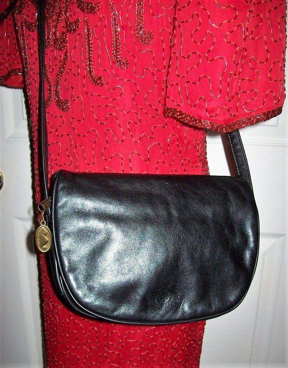 1af24356420e Vintage Black Leather Cross Body Messenger Shoulder Bag by Stone Mountain  Only 15 USD  shoulderbag