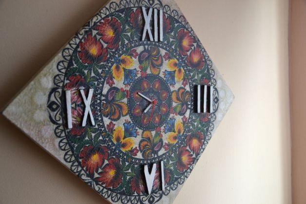 Zegar decoupage, zegar folkowy - art-kredka - Zegary