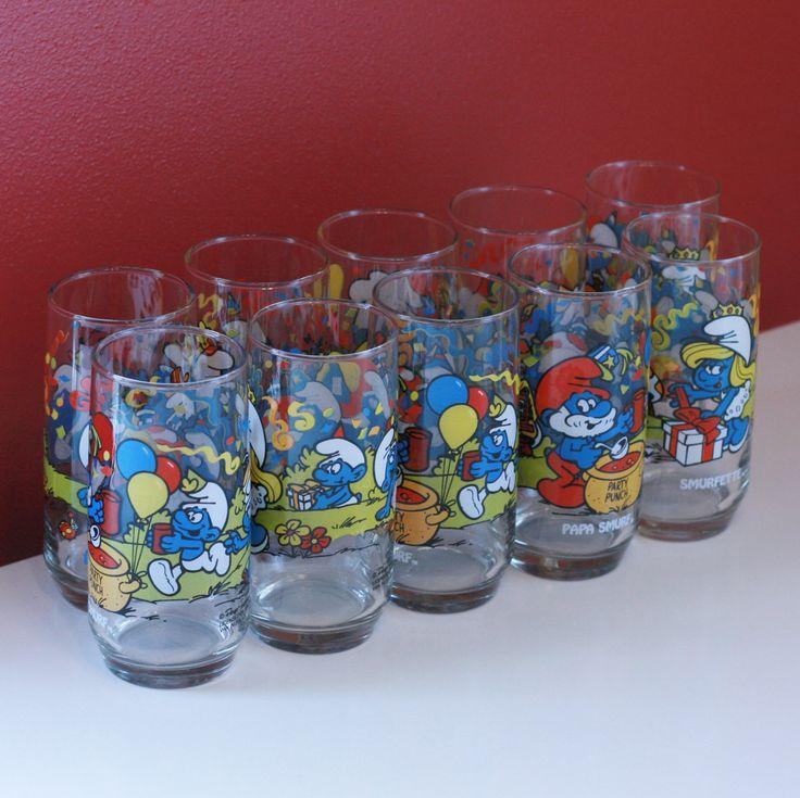 Set of 10 Smurf Cartoon Drinking Glasses From 1980s // Smurf Water Glasses Smurfette, Papa Smurf, Baker Smurf, Harmony Smurf by VintageMamaOfOne on Etsy https://www.etsy.com/listing/221626676/set-of-10-smurf-cartoon-drinking-glasses