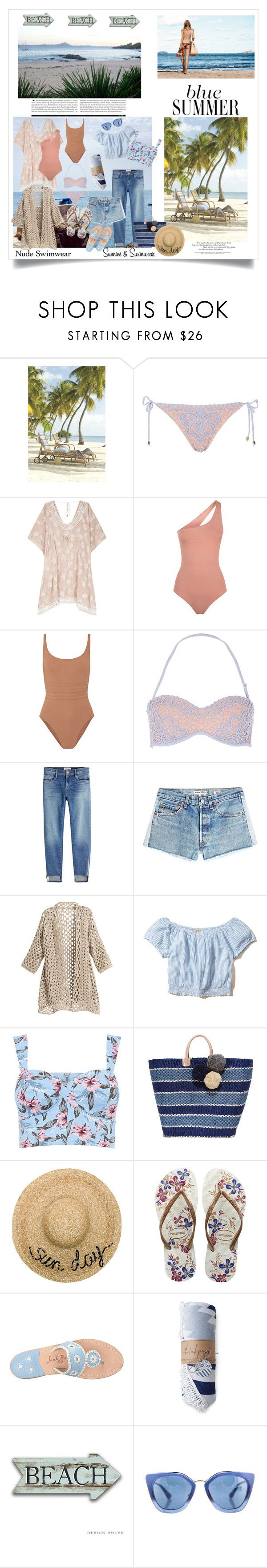 """A Free For All At The Beach!"" by onesweetthing ❤ liked on Polyvore featuring Melissa Odabash, Eres, River Island, Frame, RE/DONE, Hollister Co., Mar y Sol, Eugenia Kim, Havaianas and Jack Rogers"