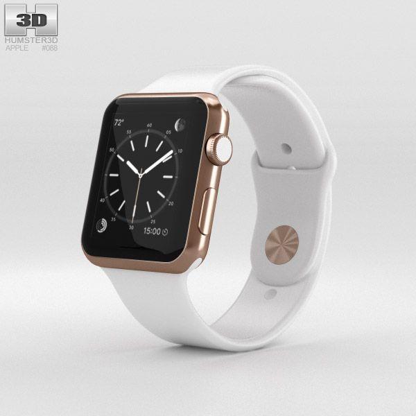 online retailer 9337f 4b26e Apple Watch Edition 42mm Rose Gold Case White Sport Band 3d model ...