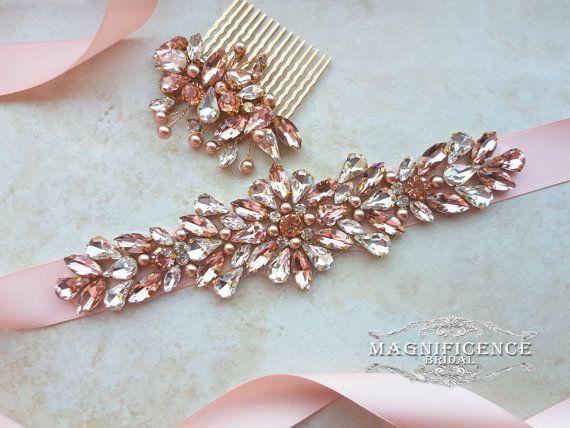 Blush bridal belt, blush bridal comb, blush bridal sash, blush sash, bridal belt, blush pink sash, rose gold, blush belt, blush gold sash