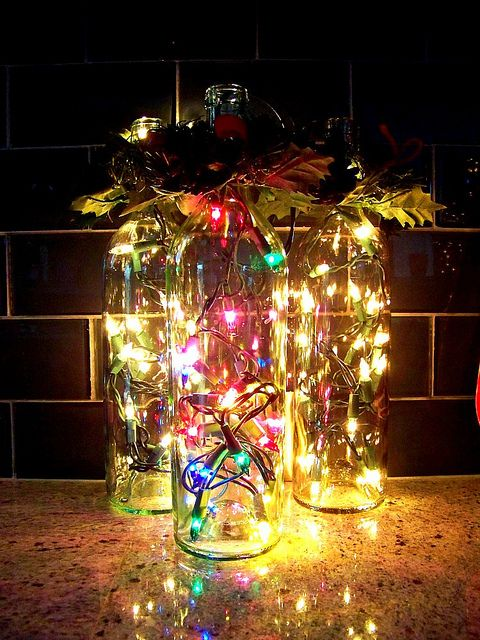 223 best Wine Bottle Lights images on Pinterest Wine bottle