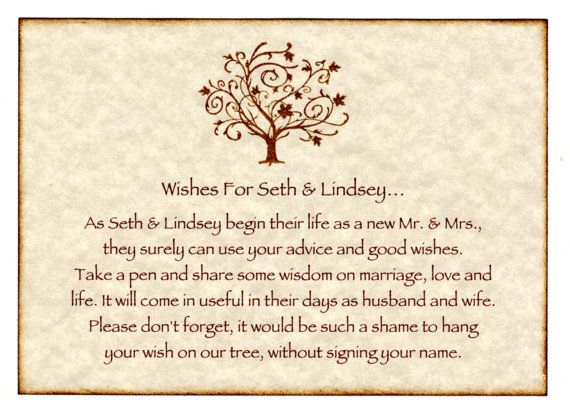 Wedding Wish Tree Tags Advice Cards Instruction Sign ...
