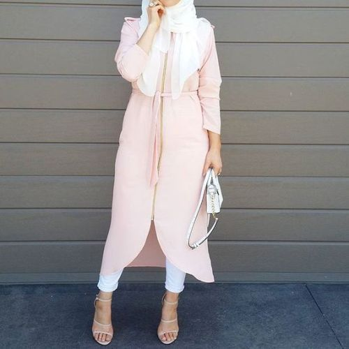 neutral blush hijab outfit