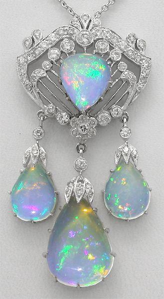 Art Deco Style 11.31ct Opal 0.99ct Diamond 14k Gold Pendant | New York Estate Jewelry | Israel Rose