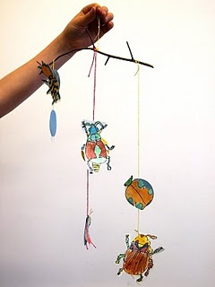 insect mobile - great for our bug unit!