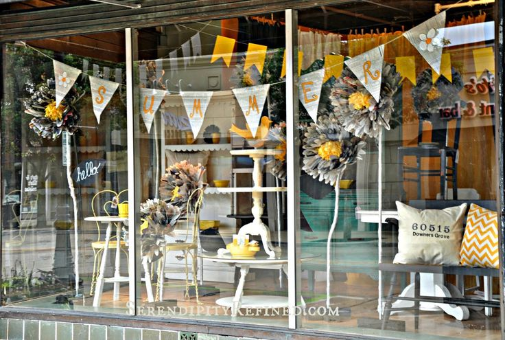 Serendipity Refined Blog: Summer Store Window with Giant Paper Flowers