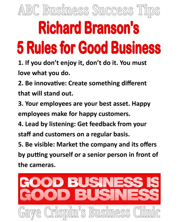 Richard Branson's 5 Rules for Good Business  #ABCSuccessTips  -  #entrepreneurquotes #kurttasche