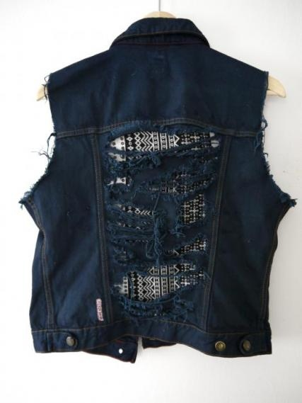 Jackets & Coats - Denim Jacket No Sleeves Distressed Details With Pattern http://www.ezebee.com/insecd-clothing