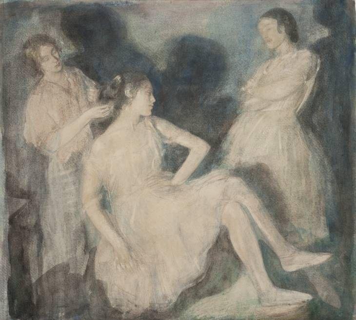 Ambrose McEvoy, 'Two Ballet Dancers with Dresser' c.1913