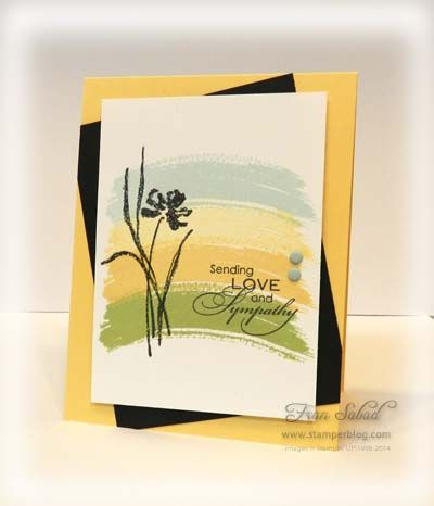 Love & Sympathy and Work of Art. From the bottom up it's Pear Pizzazz, So Saffron, So Saffron stamped off, Card stock - So Saffron, Whisper White, Basic Black Etc - Subtle candy dots Fran Dabad frantic stamper