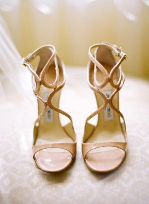 Jimmy Choo tan strappy bridal heels | photography by http://laciehansen.com/