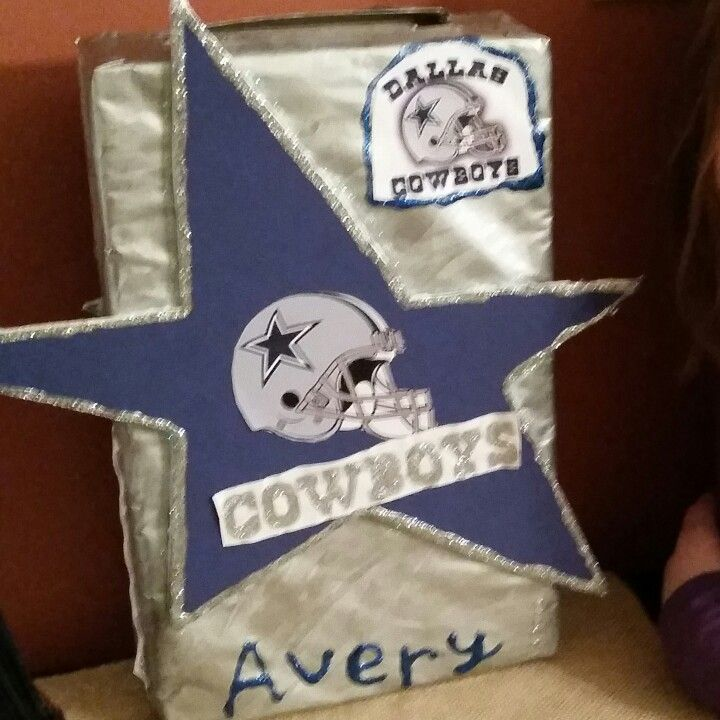 Dallas cowboys valentine box avery 39 s pins pinterest for Dallas cowboys arts and crafts