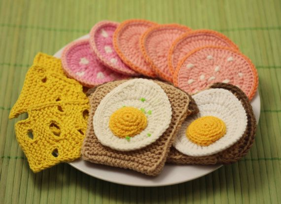 BREAKFAST Crochet Knitting Patterns Set PDF – Crochet fried egg, Crochet boiled sausage, Knitted bread, Knitted cheese, Amigurumi Play Food
