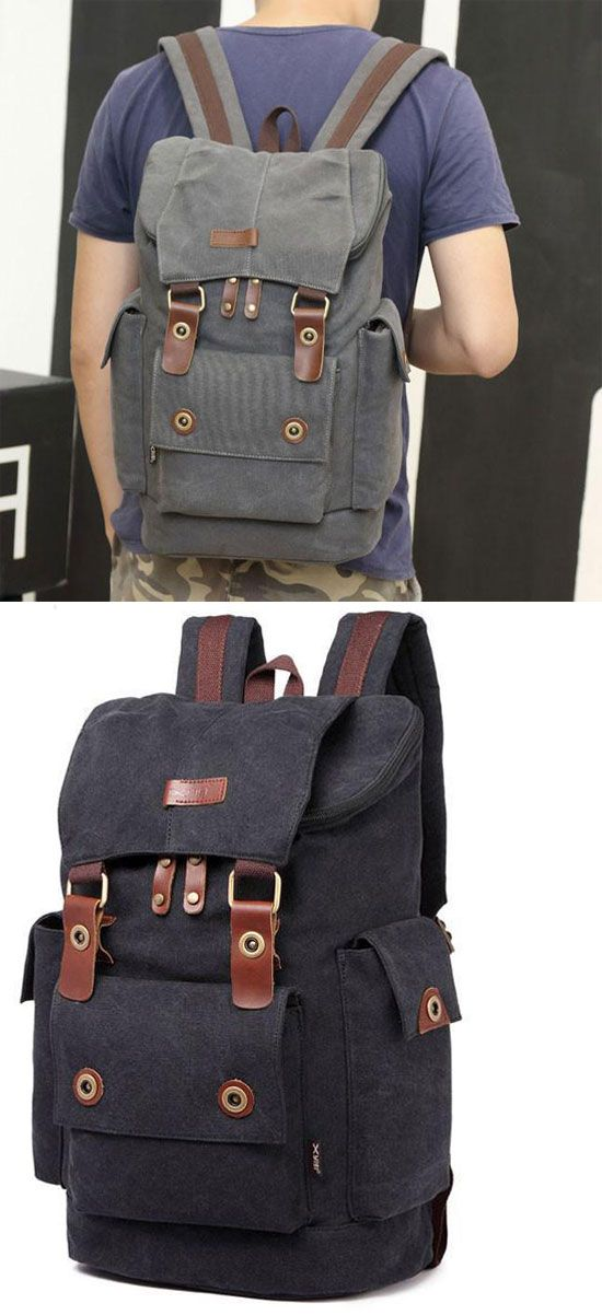 Retro Travel Rucksack Splicing Leather Belts School Laptop Men s Canvas  Large Capacity Outdoor Backpack  backpack  Bag  school  college  student   canvas   ... 1d04e2e9a3