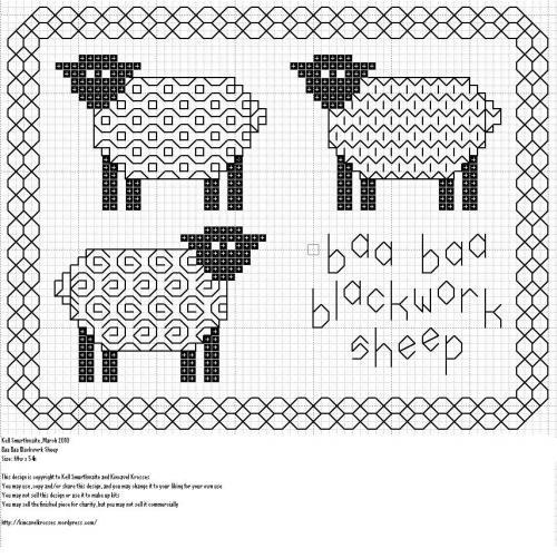 blackwork sheep cross stitch freebie, by www.kincavelkrosses.wordpress.com