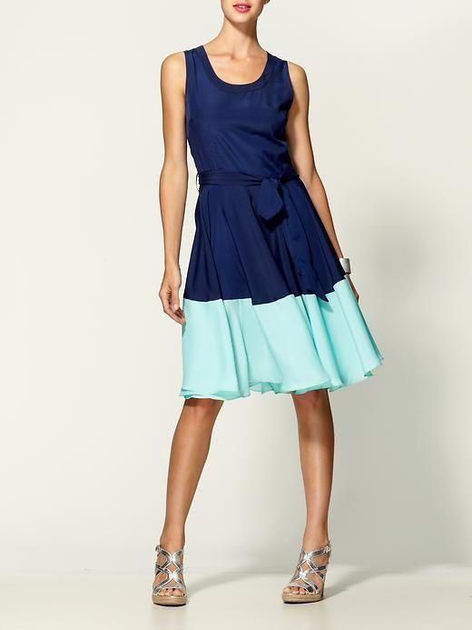 perfect inspiration to lengthen short dresses. cute colors: navy/mint