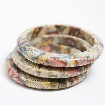 Recycled Map Eco Friendly Bangle Bracelet - New World Traveler
