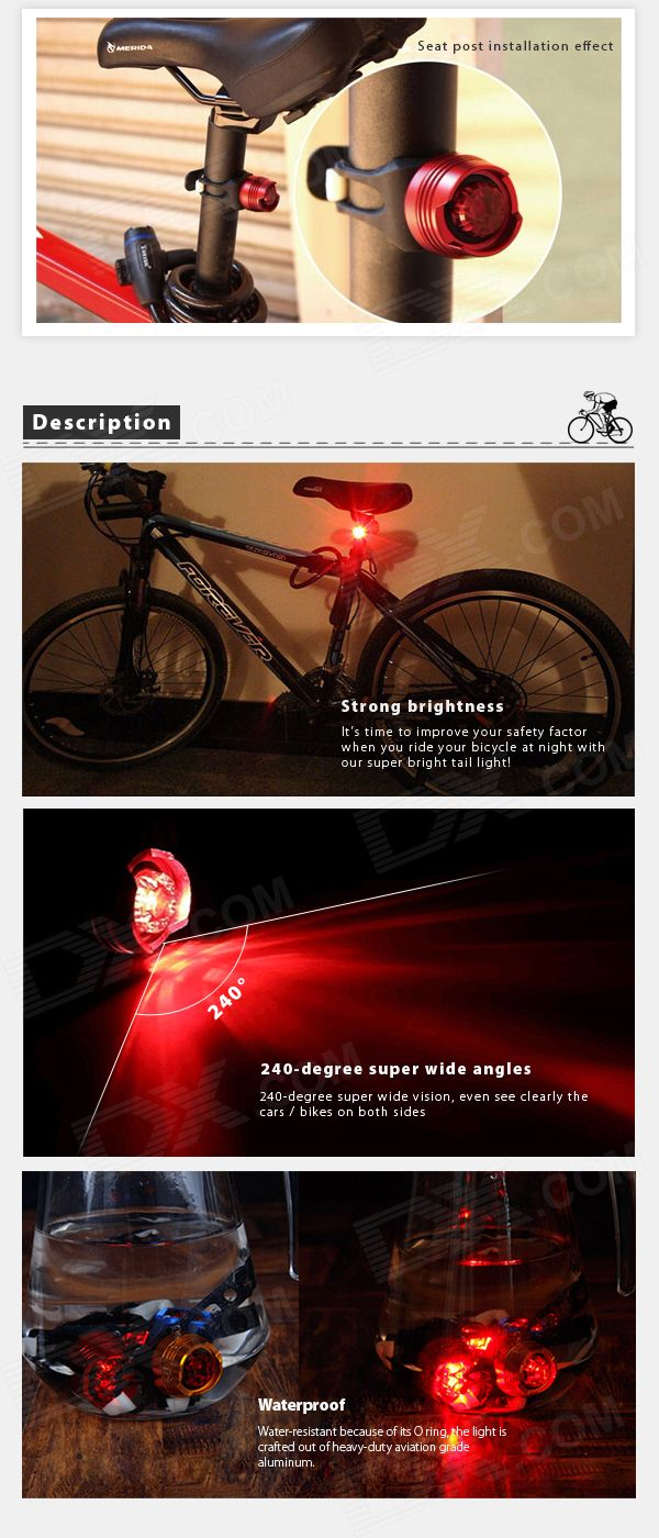 LED 2.6lm 3-Mode Red Bike Tail Safety Light - Black + Red (2 x CR2032) - Free…