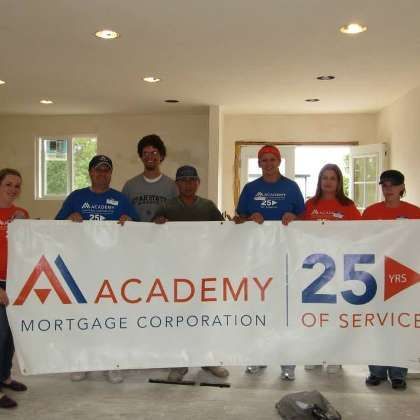 Academy Mortgage working on a Habitat for Humanity home