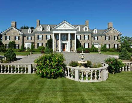 This newly listed Georgian Colonial mansion is located in Greenwich, CT. It was built in 1998 and boasts 14,465 square feet of living space with 8 bedrooms, 9 bathrooms, 8 fireplaces, 6-car garage, sw