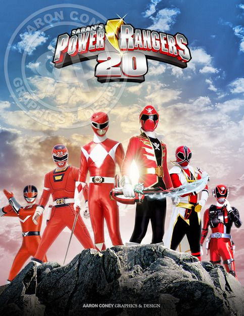 8 x 10 glossy print of a team of legendary Red Power Rangers, in honor of the 20th anniversary Power Rangers Super Megaforce, and the legendary war.