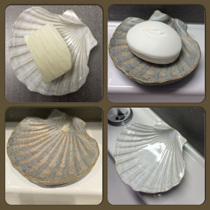 Luxury soap dish made in ceramic from real mussel shells