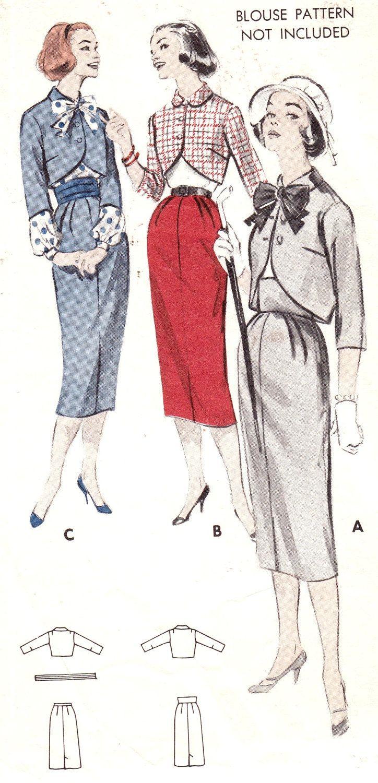 Vintage 1950s Jr. Misses and Misses Bolero Suit Size 12 Butterick 8421 UNCUT Skirt Jacket Cummerbund Sewing Pattern 50s. $12.00, via Etsy.