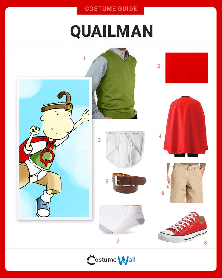 The best costume guide for dressing in costume like Quailman, the alter-ego of Doug Funnie from the 90's Nickelodeon cartoon show Doug.
