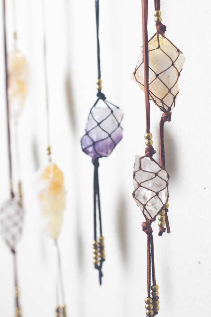 Macrame-style necklace from a rough stone or crystal and some cord..