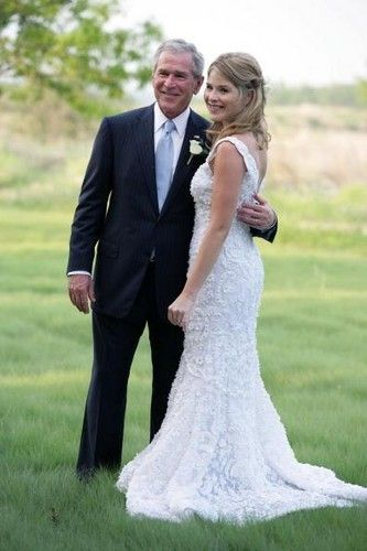 President George W. Bush and daughter Jenna Bush at Jenna's wedding to Henry Hager at the Prairie Chapel Ranch in Crawford, TX