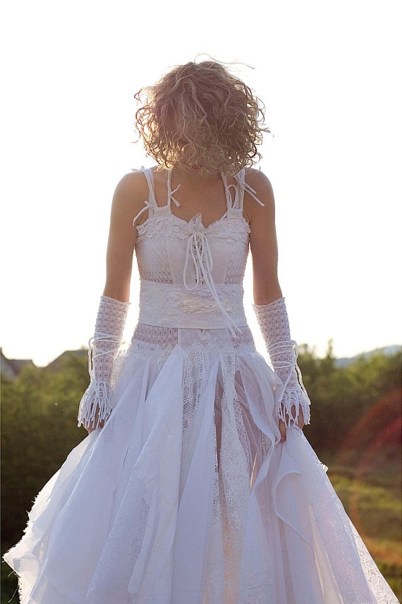 Fairy Wedding Dress Upcycled Clothing Tattered Romantic by cutrag, $301.01