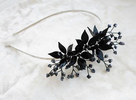 Black Hairband Flower Hairband Sparkly Black Hairband Black