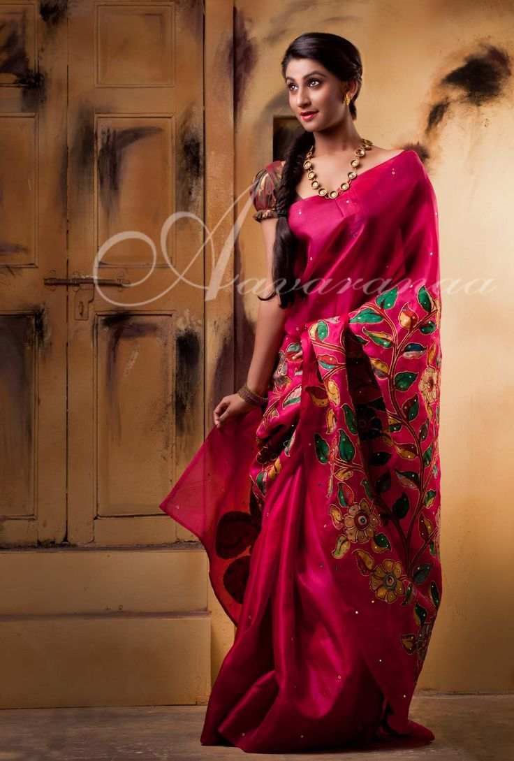 Organza silk saree with mirrors and applique work