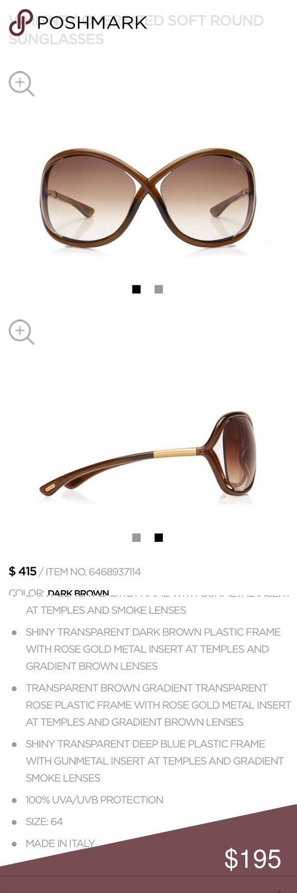 Tom Ford Whitney oversized soft round sunglasses Iconic Tom Ford Whitney sunglasses. Worn by many celebrities like Jennifer Anniston. Excellent condition, only worn a few times. Tom Ford Accessories Sunglasses