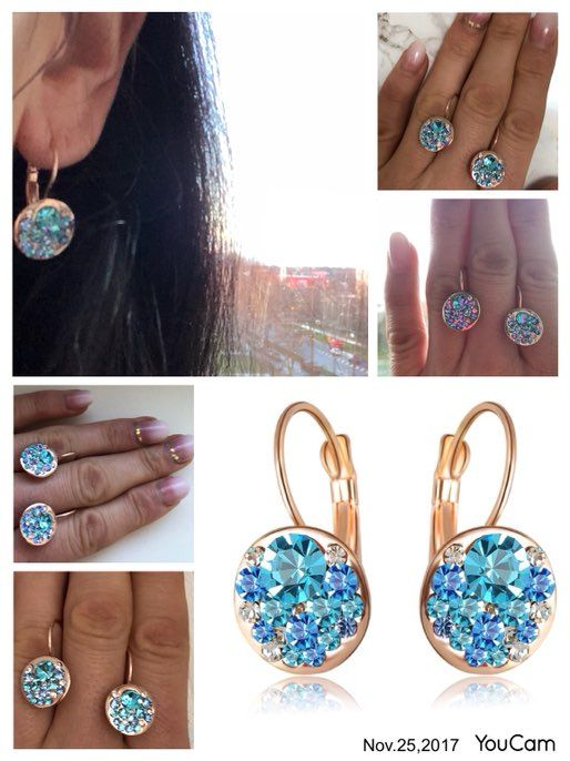 #discover_me_in_november very Beautiful earrings with a scattering of rock.Dominated by pale blue,but there are transparent..not felt In the ears.When worn, the gilding came off.The locks are sturdy,the stones are glued tightly.Order happy)) All the good shopping and Sunny mood!!!